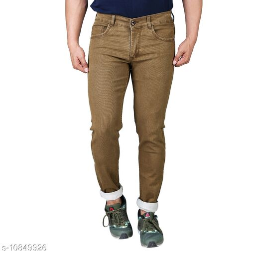 Drragon Men Slim Fit Brown Jeans