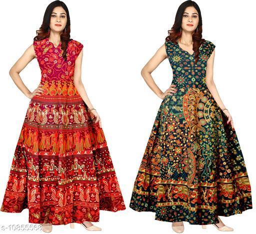 Rajasthani Traditional Cotton Designer long Dress in Jaipuri Printed (Free Size UPTO 44XL) combo of - 2 pcs