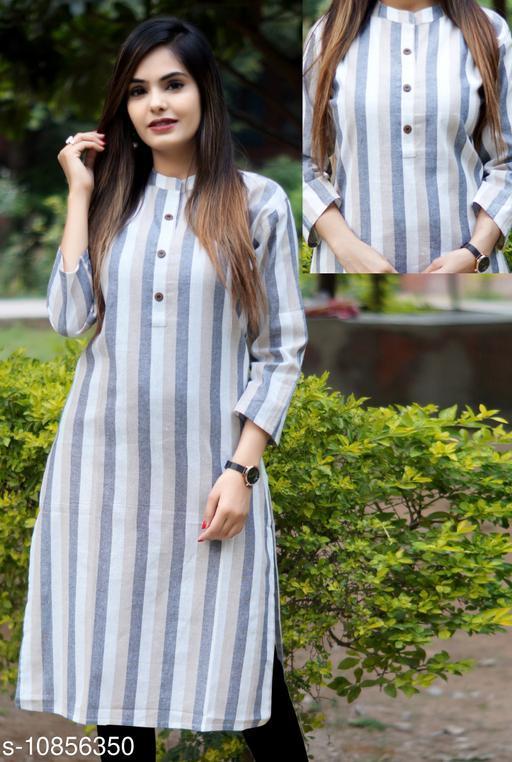 Women Khadi Cotton Straight Stripe Kurti