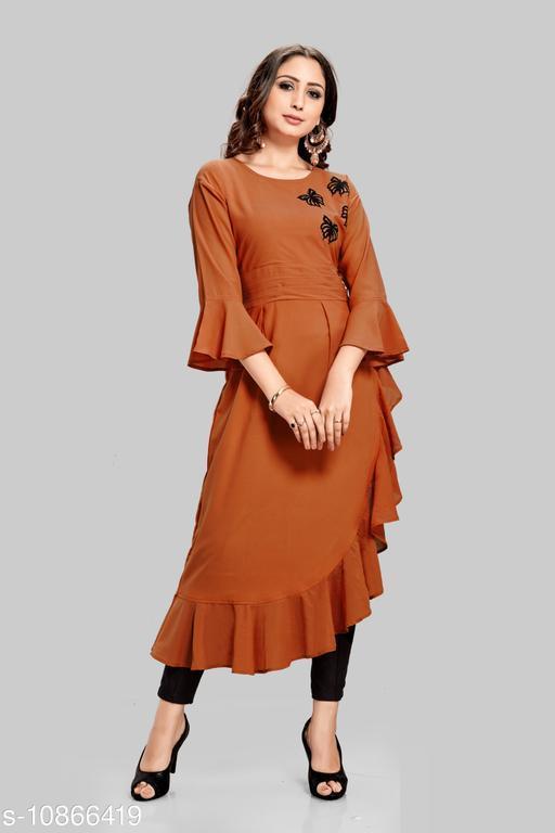 Women Rayon A-line Applique Orange Kurti