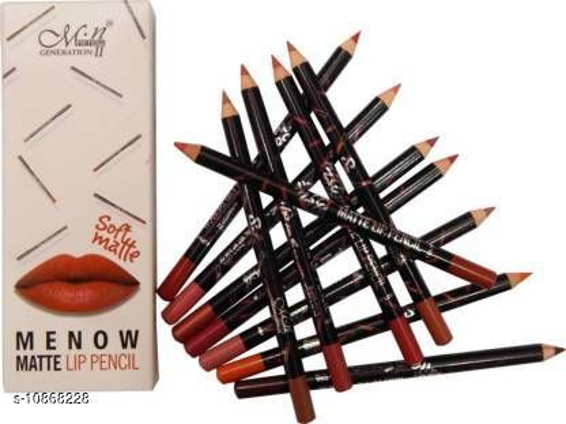 Menow waterproof lip pencil / liner set of 12 multicolor soft matte (Multicolor)