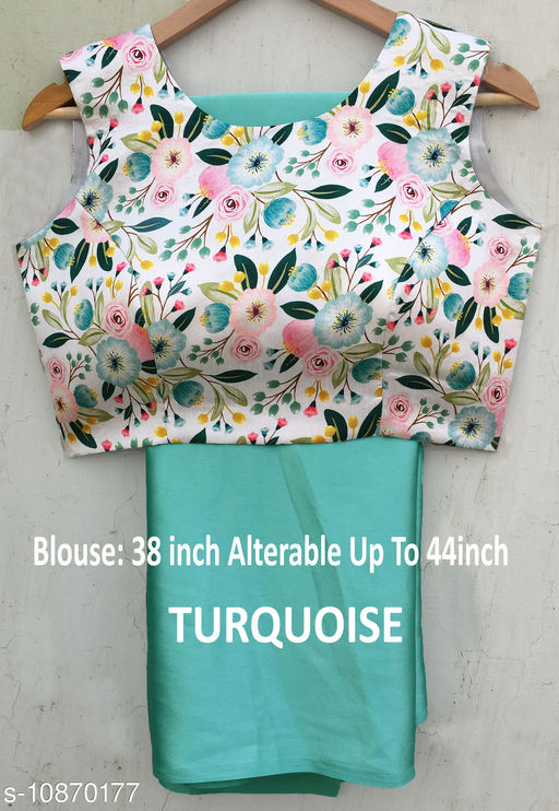 Turquoise Saree with Readymade Blouse