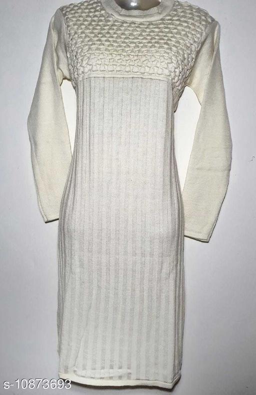 Women's Woven Design White Wool Kurti