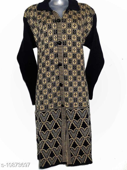 Women's Black Woven Design Wool Kurti