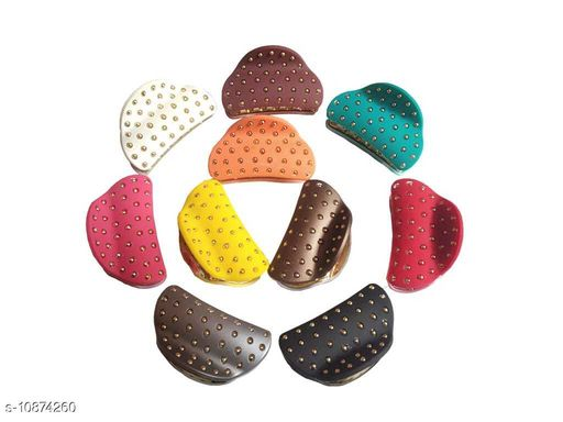 GoldenDots Hair claw /clip/clutcher in plastic for woman party wear girls Accessories and Half Pony Tail Clutchers to Tie up Hairs .Set 10 p