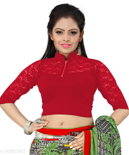 Bright Collection Red colored Lycra Stiched Blouse
