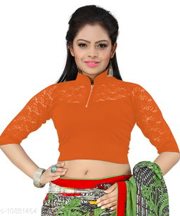 Bright Collection Orange colored Lycra Stiched Blouse
