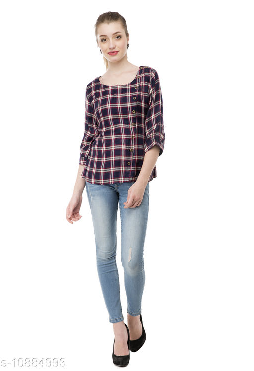 Active Topwear Ammelli  Navy Blue Checked Shirt Style Top  *Fabric* Cotton Blend  *Pattern* Checked  *Multipack* 1  *Sizes*   *M (Bust Size* 38 in)  *Sizes Available* M *    Catalog Name: Comfy Women Sports & Activewear Tops CatalogID_2010080 C79-SC1407 Code: 828-10884993-