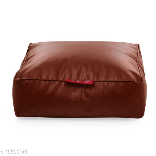 Style Homez Premium Leatherette Large Classic Square Floor Cushion Tan Color, Filled with Beans Fillers
