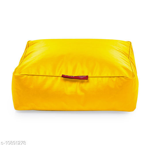 Style Homez Premium Leatherette Large Classic Square Floor Cushion Yellow Color, Filled with Beans Fillers
