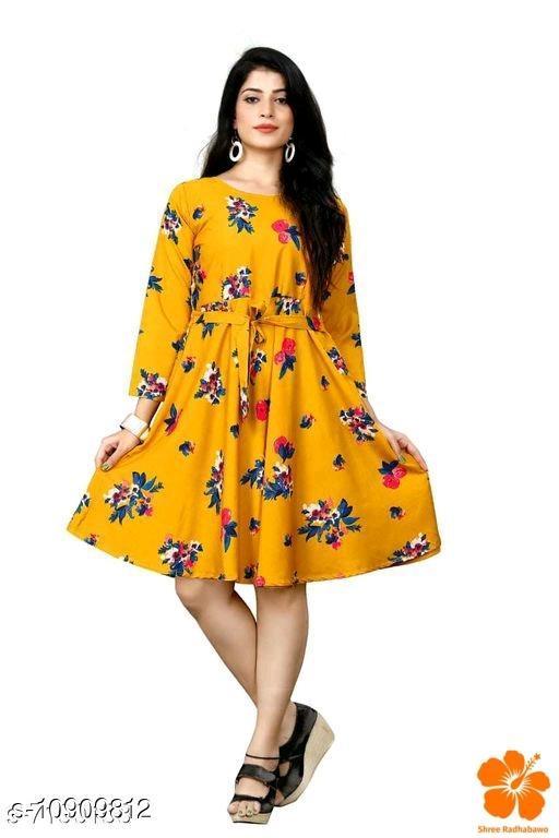Women Crepe A-line Printed Mustard Dresses