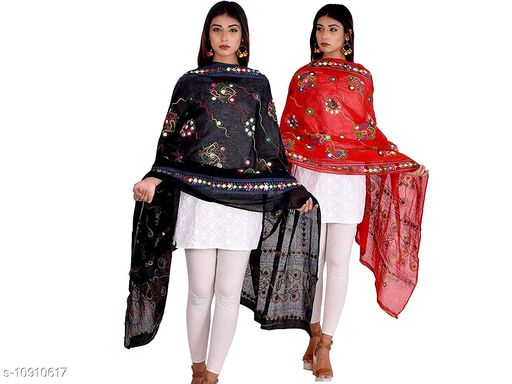 Rajasthani Stylish Cotton Embroidered Mirror Work Combo Dupatta For Women's and Girl's
