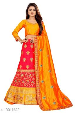 Sana Silk Embriodered Red  and Yellow Color Lahengha Saree with Blouse