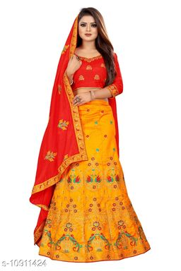 Sana Silk Embriodered Yellow  and Red Color Lahengha Saree with Blouse