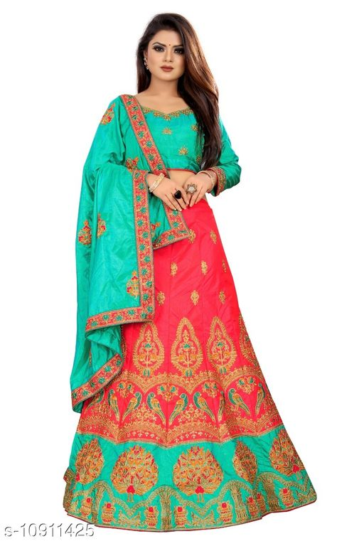 Sana Silk Embriodered Pink  and Teal Color Lahengha Saree with Blouse