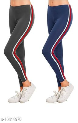 Women's Side Stripped Jeggings Combo Pack of 2