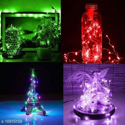 GreenFnch 20 LED Wine Bottle Cork Copper Wire String Lights, 2M Battery Operated (Multicolor, Pack of 24)