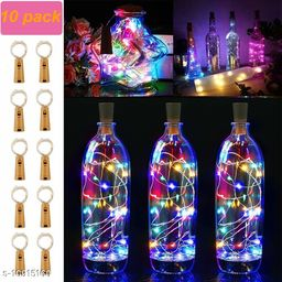 GreenFnch 20 LED Wine Bottle Cork Copper Wire String Lights, 2M Battery Operated (Multicolor, Pack of 10)