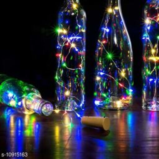 GreenFnch 20 LED Wine Bottle Cork Copper Wire String Lights, 2M Battery Operated (Multicolor, Pack of12)
