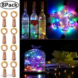 GreenFnch 20 LED Wine Bottle Cork Copper Wire String Lights, 2M Battery Operated (Multicolor, Pack of 8)