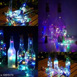 GreenFnch 20 LED Wine Bottle Cork Copper Wire String Lights, 2M Battery Operated (Multicolor, Pack of 5)