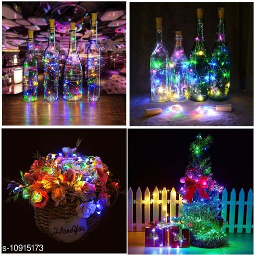 GreenFnch 20 LED Wine Bottle Cork Copper Wire String Lights, 2M Battery Operated (Multicolor, Pack of 2)