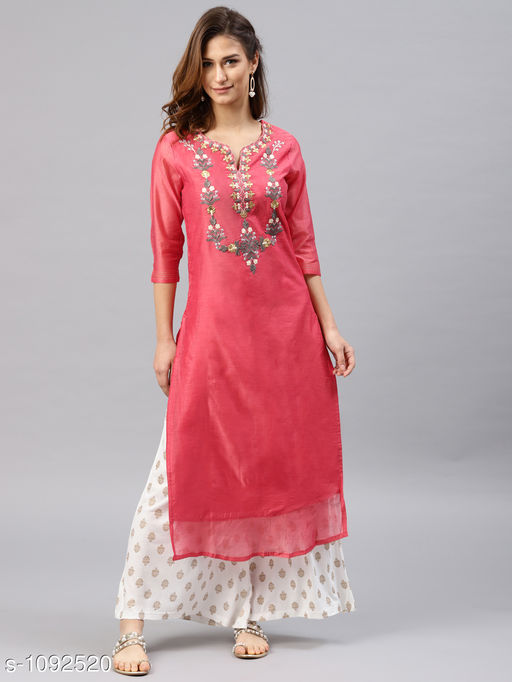 Women's Chanderi Silk Red A-line Floral Embroidered Kurti