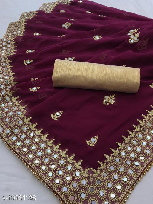 Mirror Work Embroidered Handwork Saree