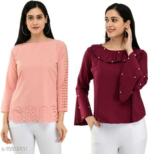 Womens Casual Solid Regular Fit Combo Top