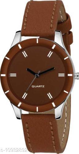 MMD New Stylish Brown Cut Glass Leather Strap Watch For women Analog Women Watch