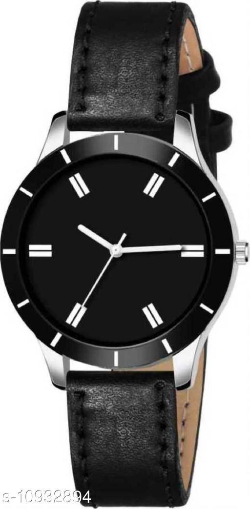 MMD New Stylish Black Cut Glass Leather Strap Watch For women Analog Women Watch