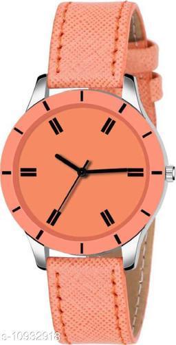 MMD New Stylish Orange Cut Glass Leather Strap Watch For women Analog Women Watch
