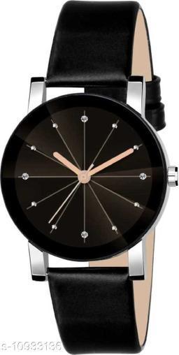 MMD New Diamond Cut Glass Leather belt watch For Women Analog Women Watch