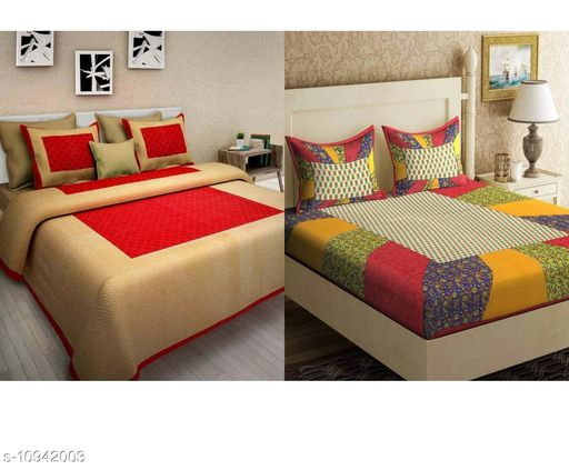 Combo of 2 Jaipuri Bedsheet with 4 pillow covers