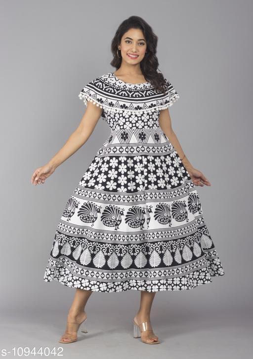 Women Cotton Jaipur Print Black Maxi Long Dress with Pom Poms