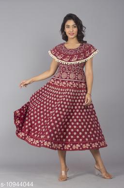 Women Cotton Jaipur Print Maroon Maxi Long Dress with Pom Poms