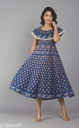 Women Cotton Jaipur Print Blue Maxi Long Dress with Pom Poms