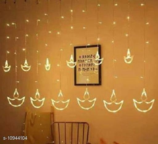 12 Diyas (6 Big Diyas & 6 Small Diyas) 138 LEDs curtain string lights Diya Curtain Light/Diwali Light Curtain, String Lights with Hanging Diyas for Bedroom, Wedding, Party, Diwali & Christmas Decorations Lights