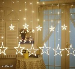 12 Stars (6 Big Stars & 6 Small Stars) 138 LEDs curtain string lights for Bedroom, Wedding, Party, Diwali & Christmas Decorations Lights