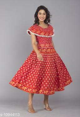 Women Cotton Jaipur Print Red Maxi Long Dress with Pom Poms