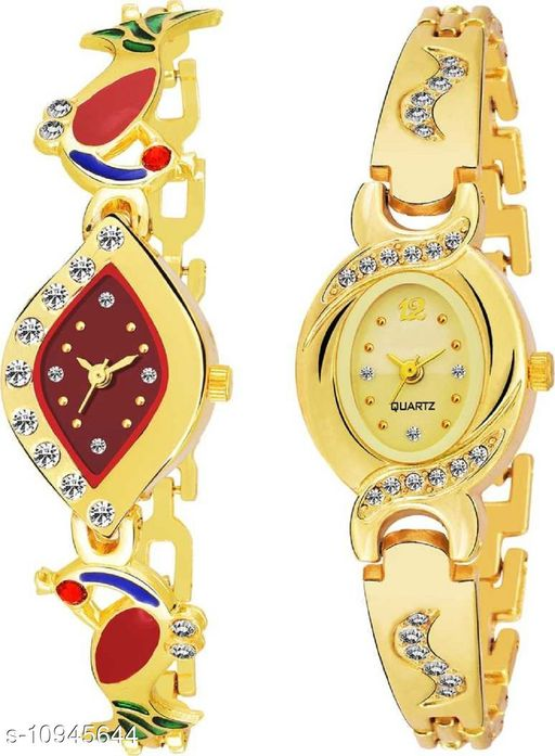 MMD Black and Blue Pack of 2 Stainless Steel Stylish Girls Watch Analog Watch