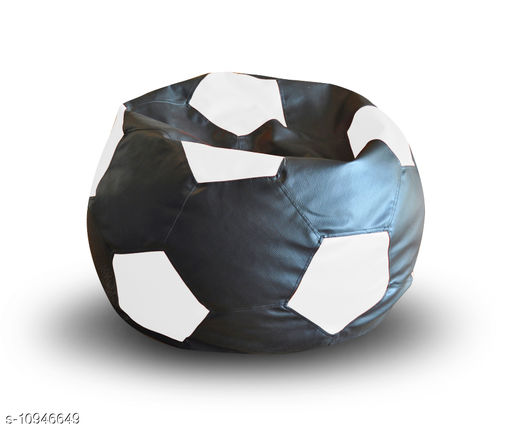 Style Homez Premium Leatherette Football Bean Bag XXL Size Black-White Color Filled with Beans Fillers