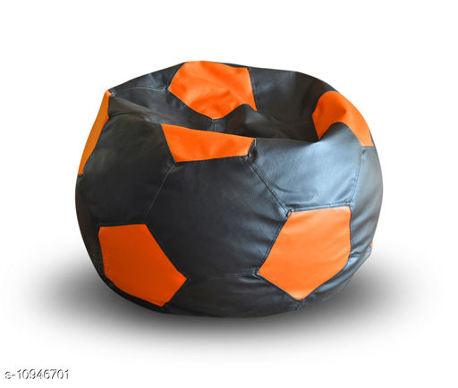 Style Homez Premium Leatherette Football Bean Bag XXL Size Black-Orange Color Filled with Beans Fillers