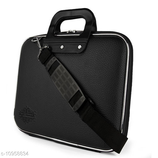 """Style Homez Stylish Unisex Hard Shell Briefcase Black Laptop Bag with Strap for 14"""" Laptop"""