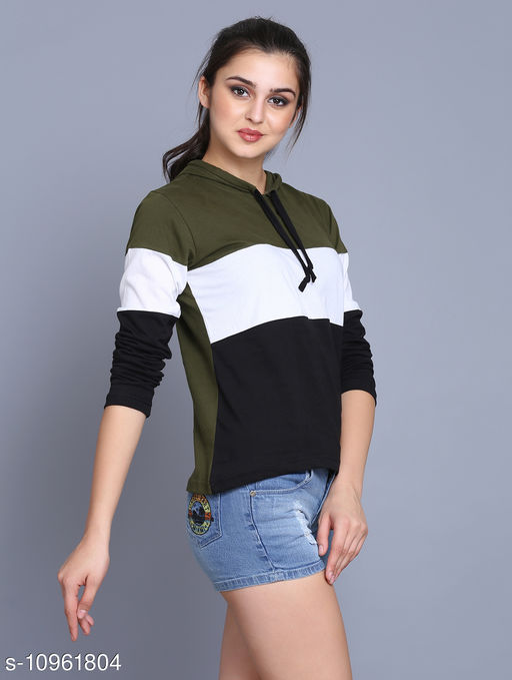 stylish cotton full sleeves hoodies for women/girls
