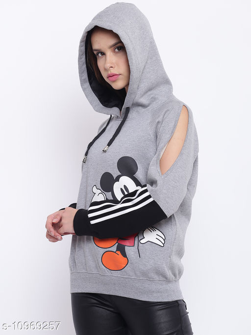 TEXCO Grey Mickey Mouse Printed Color Block Hooded Sweatshirt for Women