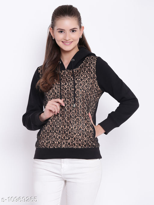 TEXCO Beige and Black Lace Embellished Hooded Sweatshirt for Women