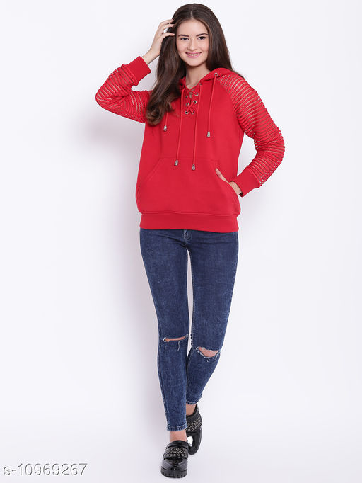 TEXCO Red Lace Sleeve Hooded Sweatshirt for Women