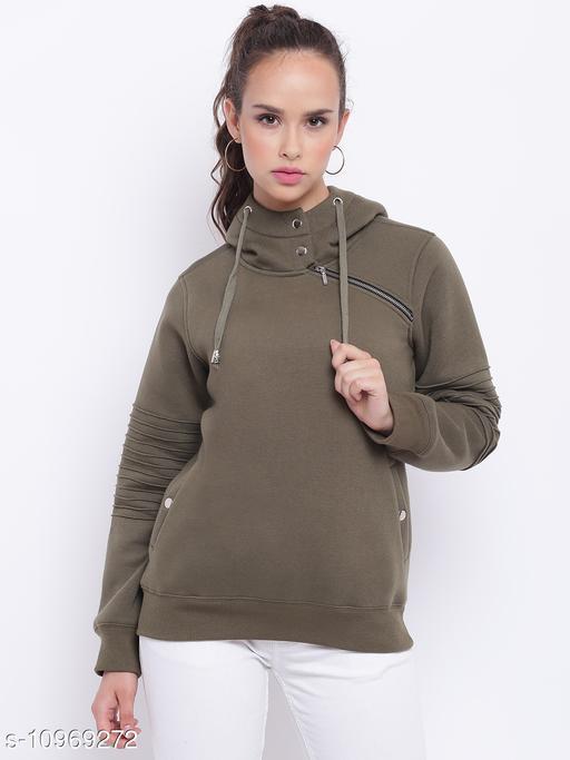 TEXCO Olive Green Zipper Detailed Hooded Sweatshirt for Women