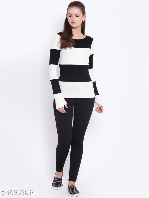 TEXCO Black and White Scoop Neck Winter Sweater for Women
